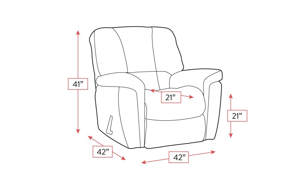 Lincoln Grey Rocker Recliner Frame Drawing