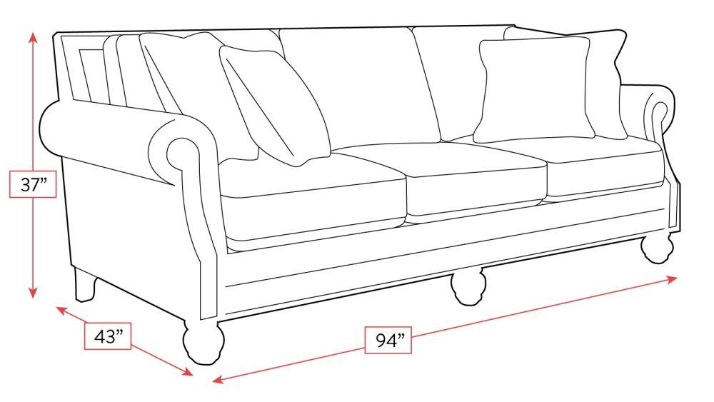 Namaste Smolder Sofa with Antique Nails Frame Drawing