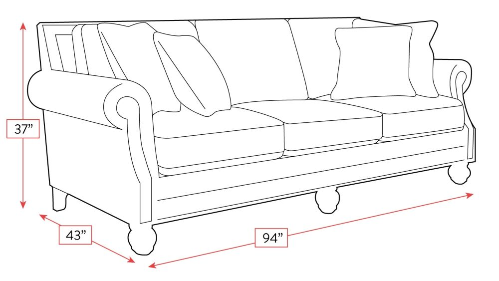 Runaround Sofa with Antique Nails Frame Drawing
