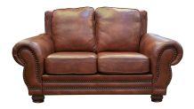 Carnegie Summer Oak Leather Love Seat, , small