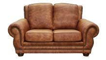 Carnegie Fawn Leather Loveseat, , small