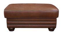 Carnegie Summer Oak Leather Ottoman, , small