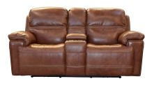 Secretariat Brown Reclining Loveseat W/Console, , small