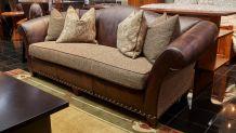 Stickley Bourbon Dark Maple Leather and Fabric Sofa, , hi-res