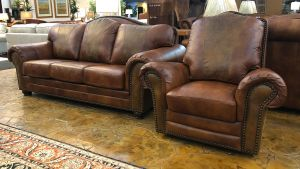 2-Piece Sofa and Chair Molasses Chaparral Leather Set, , hi-res
