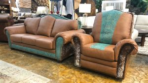 2-Piece Sofa and Chair Saddle Teal Chaparral Leather Set, , hi-res