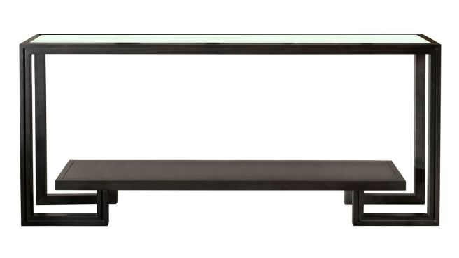 Presidio Dark Grey Console Table w/Glass Top, , hi-res