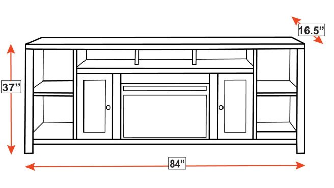 """Gardendale 84"""" Console with Fireplace, , hi-res"""