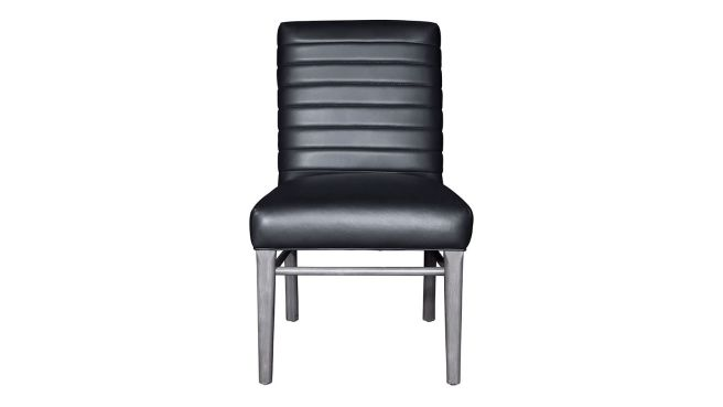 Stickley Modern Loft Channel Back Black Leather Dining Chair, , hi-res
