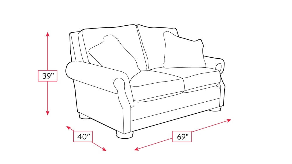 Mayo Palance Chestnut Loveseat Frame Drawing