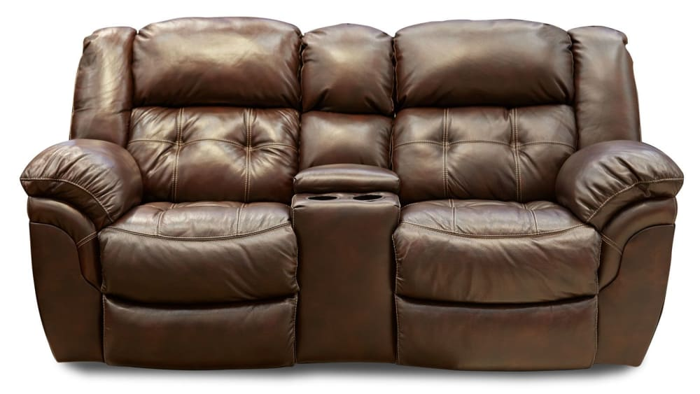 Achieve Leather Reclining Loveseat W/Console