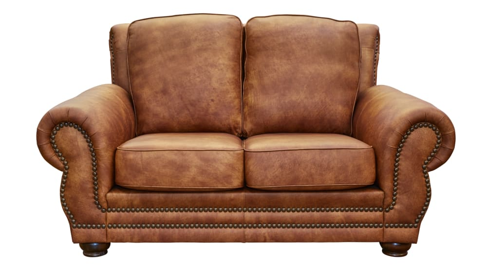 Carnegie Fawn Leather Loveseat, , hi-res