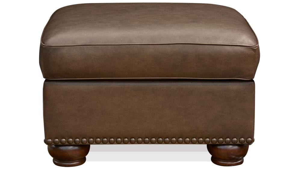 Round Rock Leather Storage Ottoman, , hi-res
