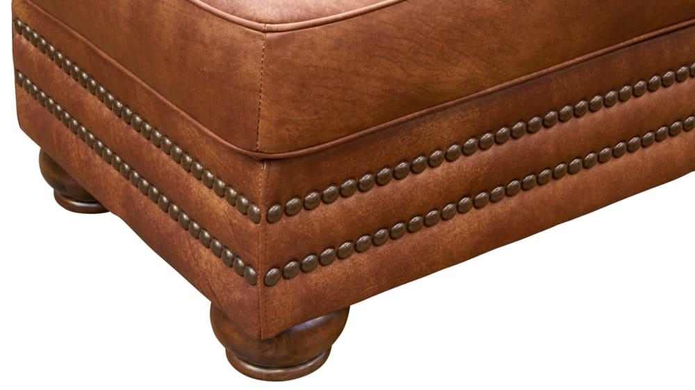 Carnegie Fawn Leather Ottoman