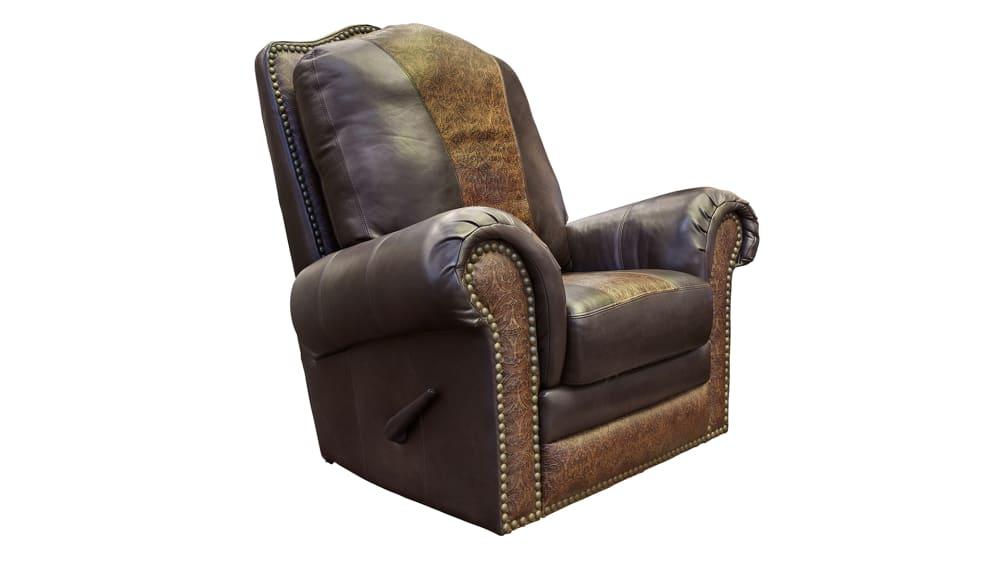 Chaparral Dark Roast Leather Swivel Recliner Chair, , hi-res