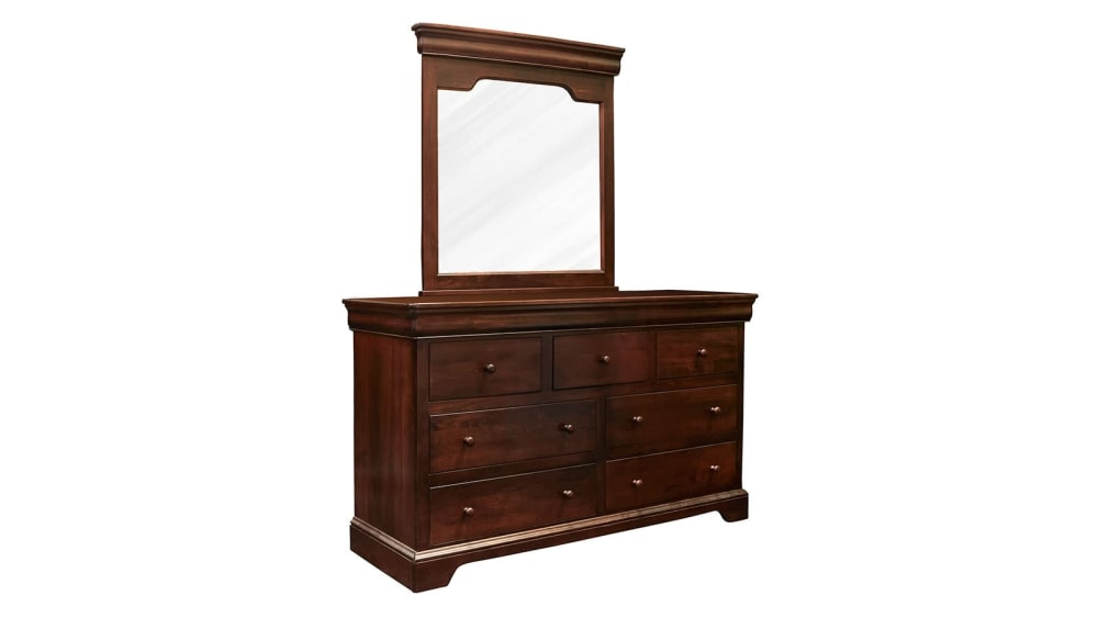 Honey Grove Solid Maple Brown Dresser & Mirror