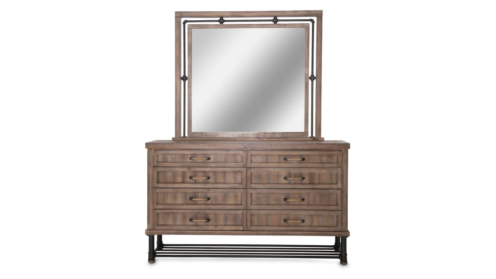 Import Reclaimed Crossing Dresser and Mirror