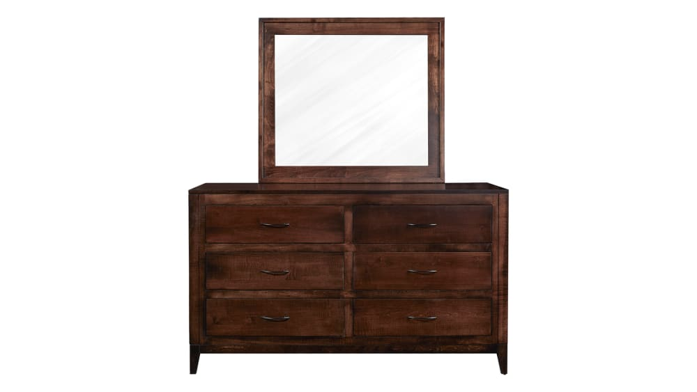 Modern Cherry Dresser and Mirror, , hi-res