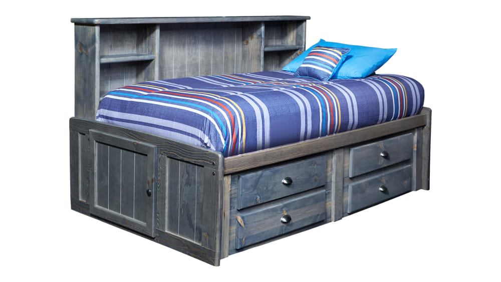 Turkey Creek Rustic Gray Full Captains Bed