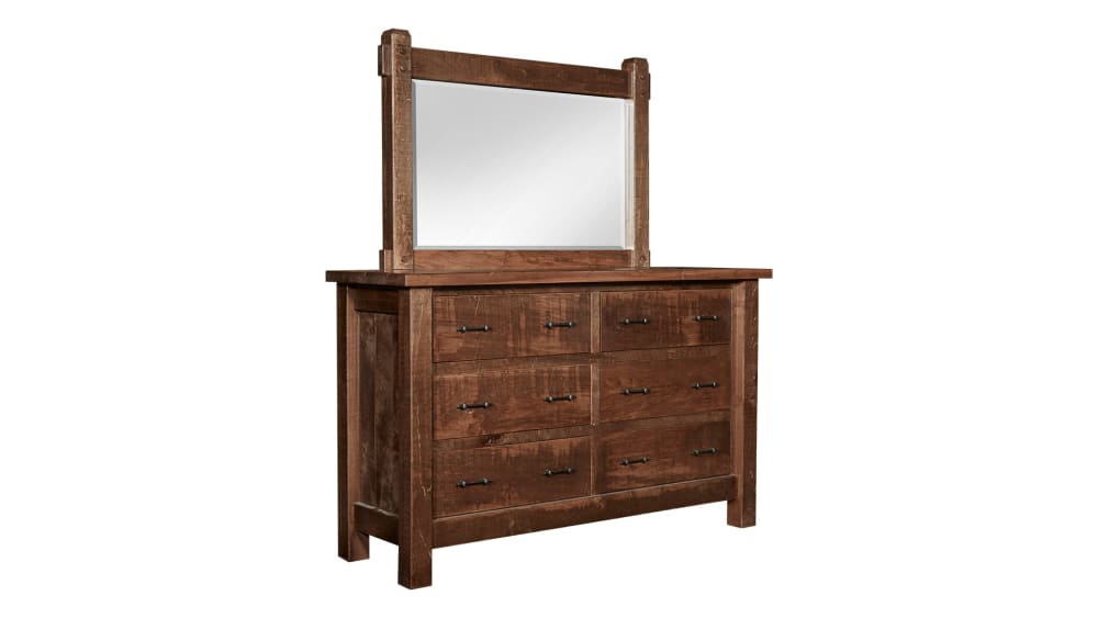 Conroe Ruff Sawn Dresser and Mirror