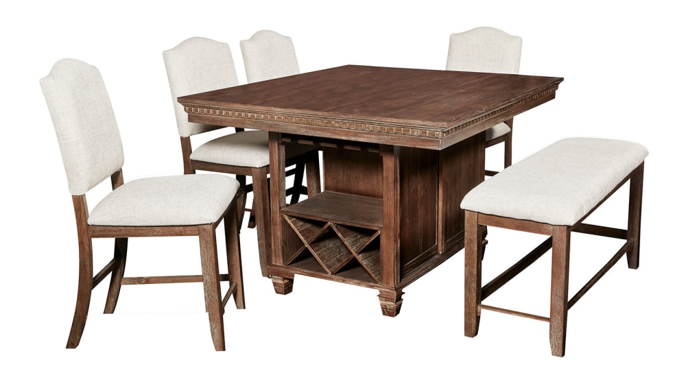 Import Regent Counter Table with 4 Chairs and Bench