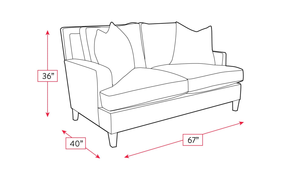 Mayo Burnheart Loveseat Frame Drawing