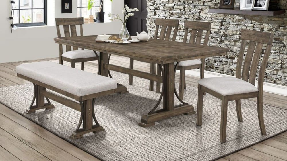 Import Quincy Dining Table with 4 Chairs and Bench