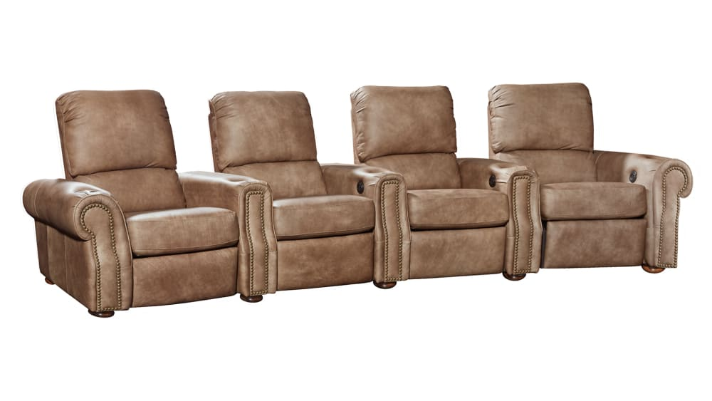 H213 Aged Pewter Leather Power Reclining Home Theater ​Seating, 4-Piece Set, , hi-res