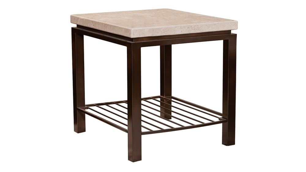 Tempo Travertine Stone End Table