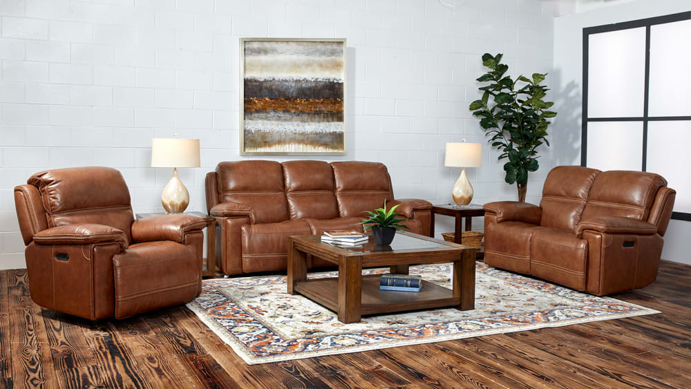 Secretariat Brown Leather Power Reclining Sofa W/Power Headrest, , hi-res