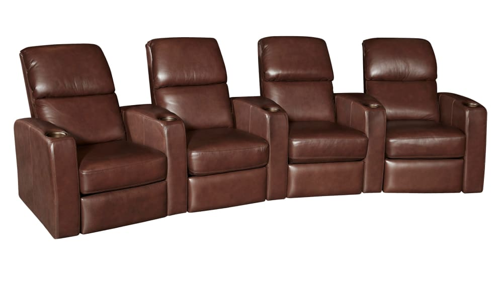G134 Walnut Leather Power Reclining Home Theater Seating, 4-Piece Set