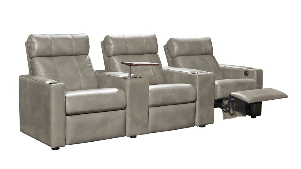 T315 Cobblestone Leather Power Reclining Home Theater Seating, 3-Piece Set