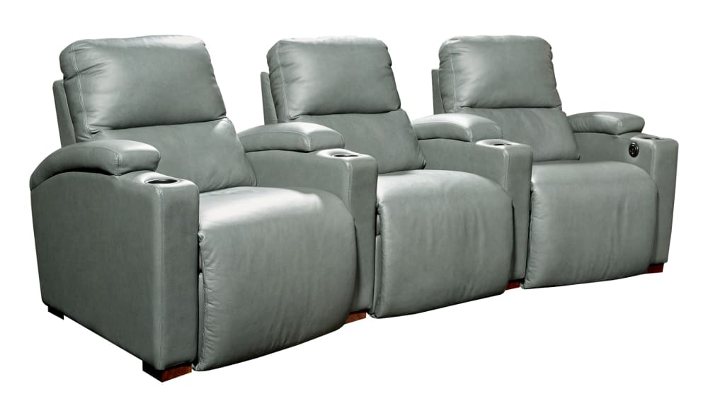 H272 Gun Metal Leather Power Reclining Home Theater Seating, 3-Piece Set