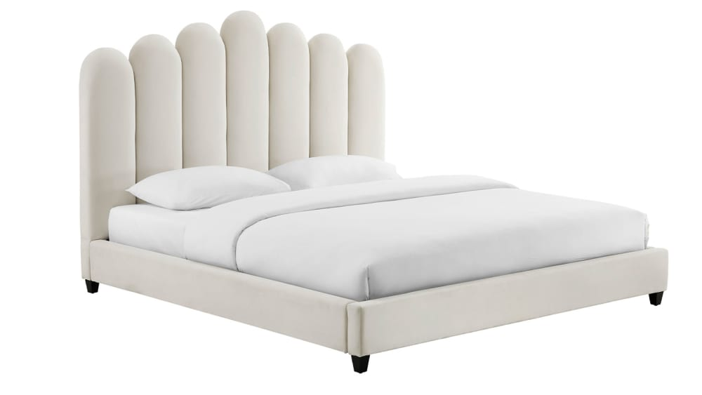 Celine Cream Velvet Bed in Queen, , hi-res