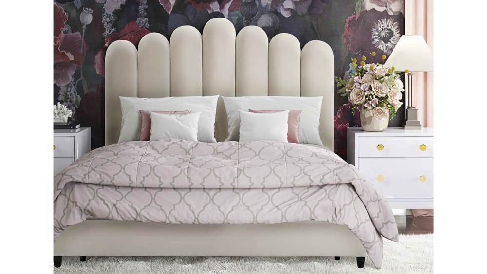 Celine Cream Velvet Bed in King, , hi-res