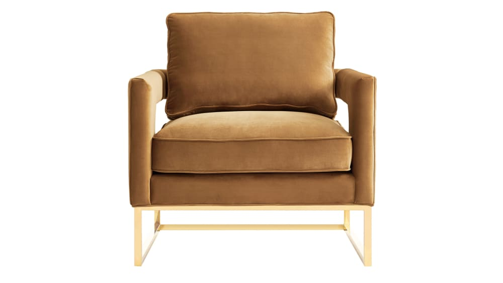 Avery Cognac Velvet Chair, , hi-res