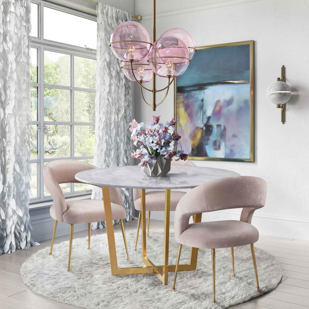 Rocco Blush Velvet Dining Chair, , hi-res