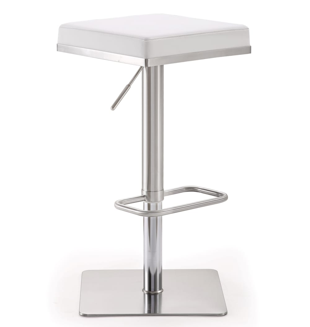 Bari White Stainless Steel Adjustable Barstool, , hi-res