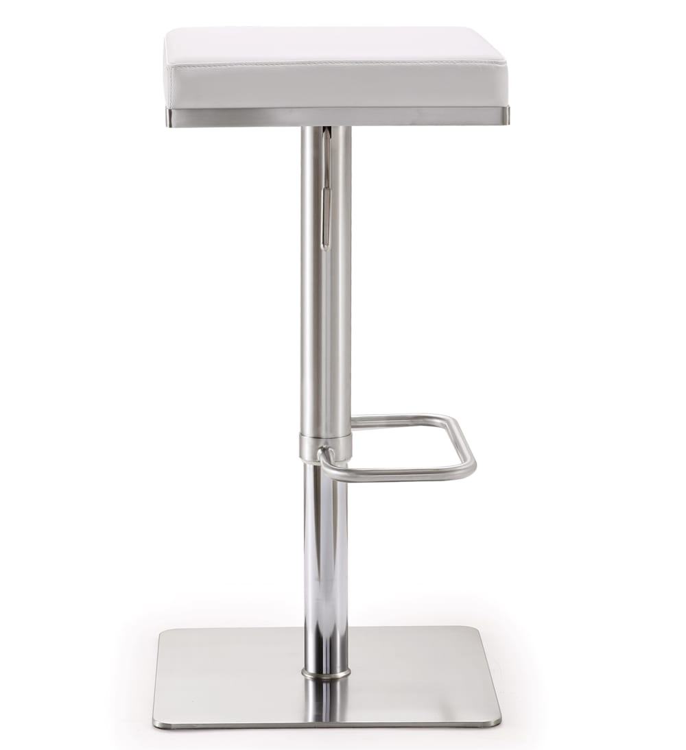 Bari White Stainless Steel Adjustable Barstool