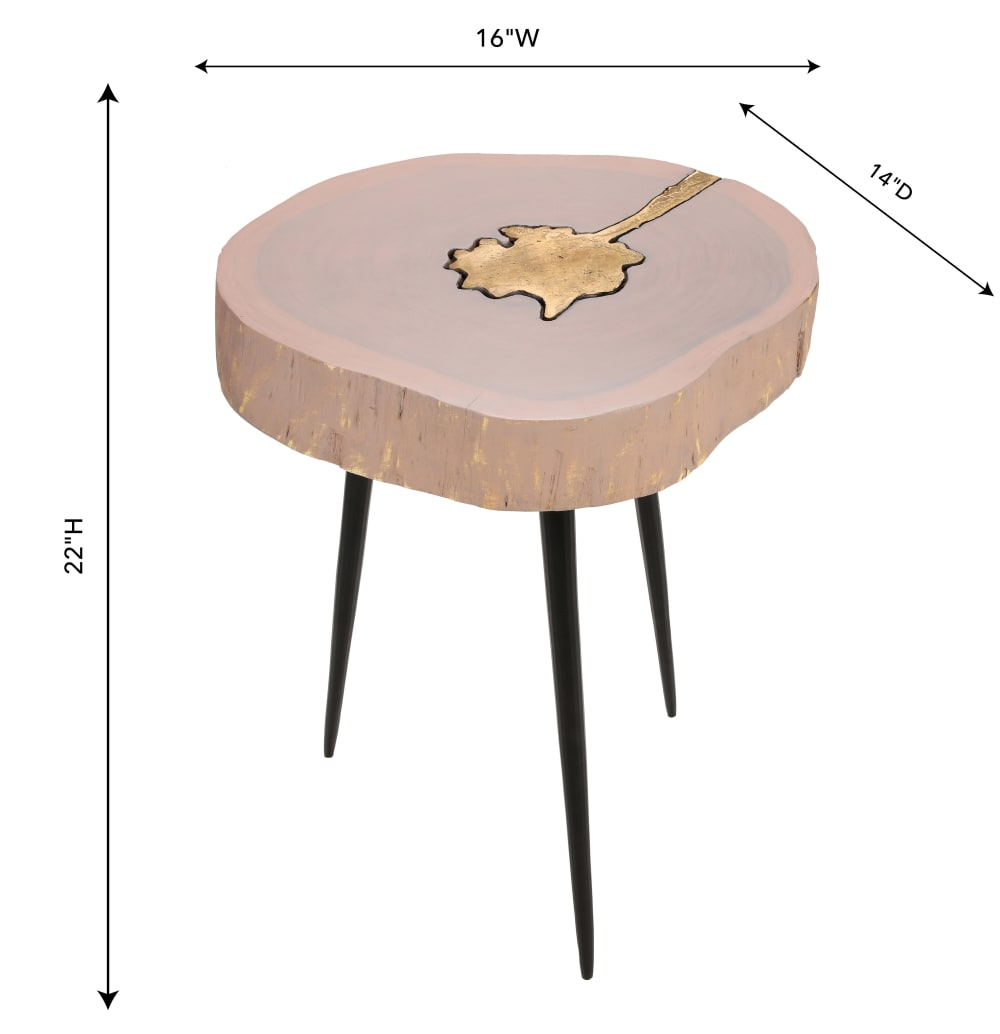 Timber Pink and Brass Side Table, , hi-res