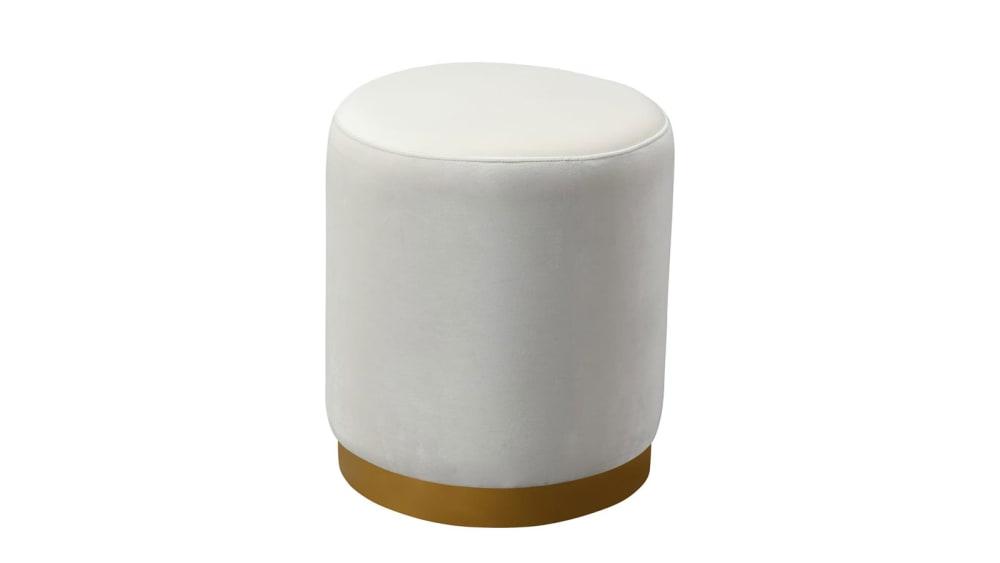 Opal Cream Velvet Ottoman with Gold Base