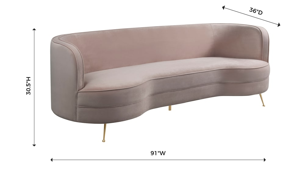 Flare Blush Velvet Sofa, , hi-res