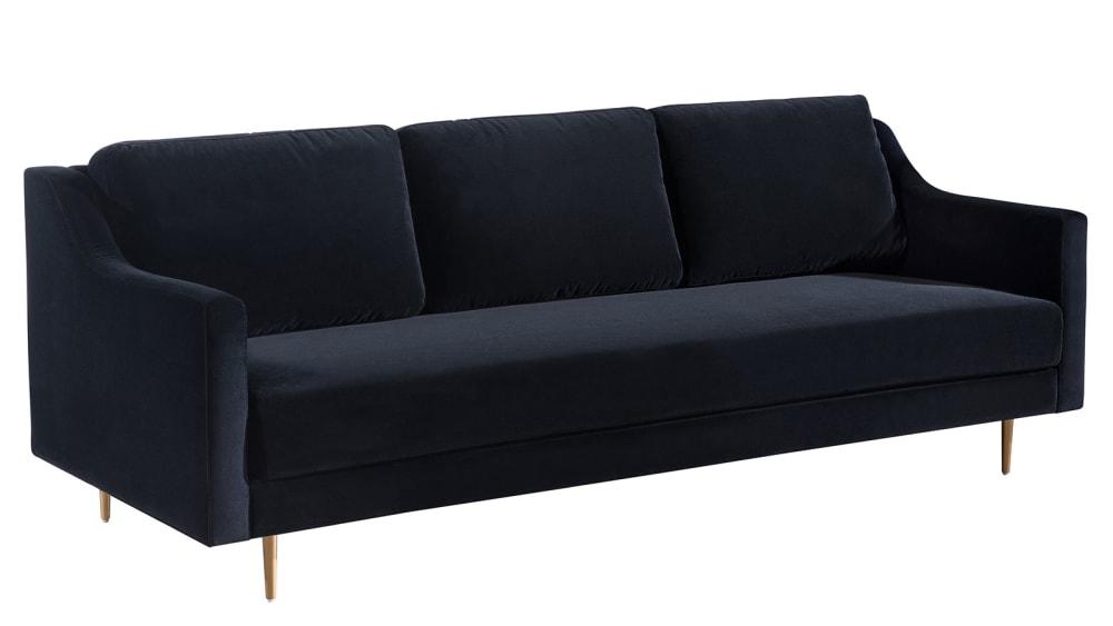 Milan Black Velvet Sofa, , hi-res