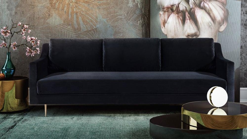 Milan Black Velvet Sofa