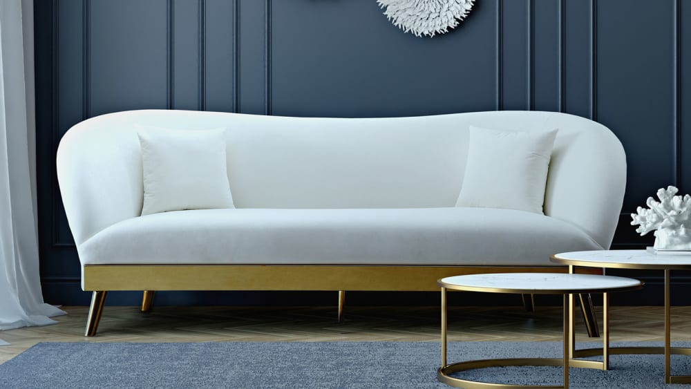Chloe Cream Velvet Sofa