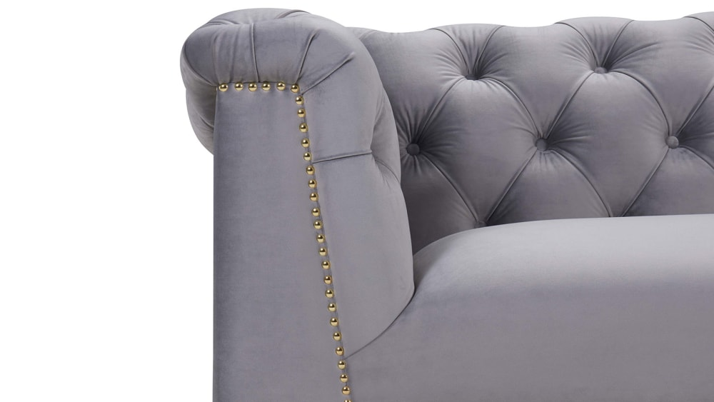 Farah Grey Velvet Sofa, , hi-res