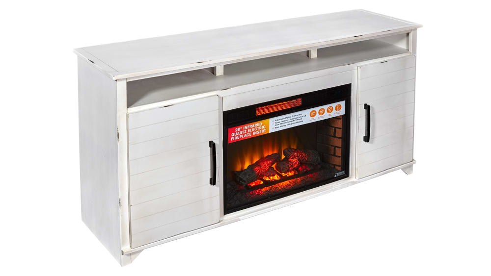 "Jasmine White 66"" Fireplace, , hi-res"