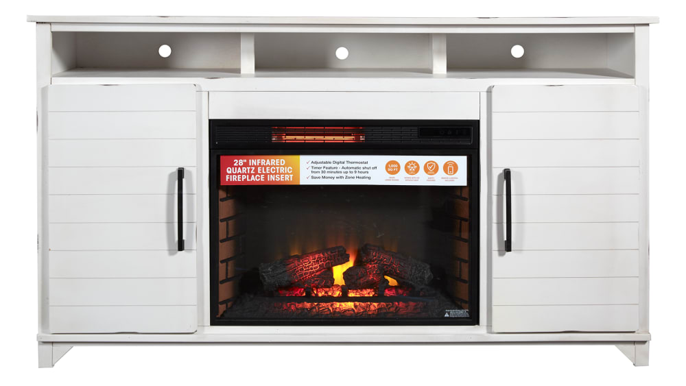 "Jasmine White 66"" Fireplace"