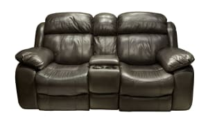 Bernardo Leather Match Power Reclining Loveseat with Console, , hi-res
