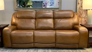 Brown Leather Power Sofa